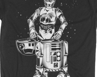 Star Wars Shirt -Mens R2D2 -C3PO -DJ Shirt -Mens Star Wars T- Shirt - R2D2 and C3PO Hand Screen Printed on a Mens T-Shirt - Mens Music Shirt