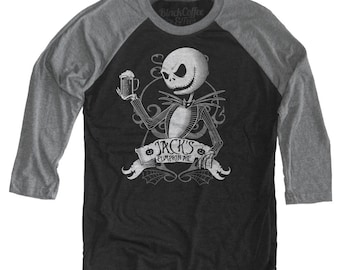 Nightmare Before Christmas Shirt - Jack Skellington Shirt - Jack Skellington Drinking a Pumpkin Ale Unisex Beer Shirt