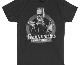 Halloween Frankenstein Shirt - Men's Frankenstein Shirt- Beer and Hot dog Shirt - Frank and Steins Bar and Grill Mens Shirt