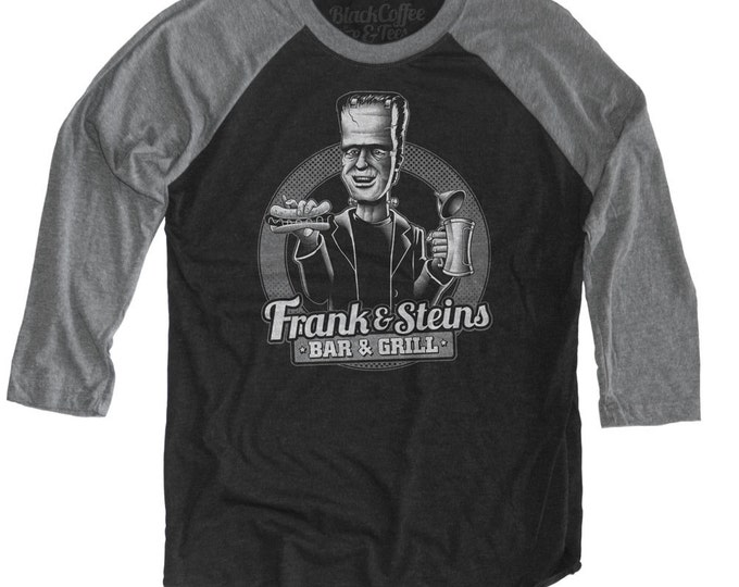 Frankenstein Shirt - Frankenstein Beer shirt - Frank and Steins Bar and Grill Hand Screen Printed on a Unisex Baseball Tee
