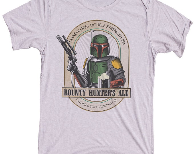 Star Wars Shirt- Mens Boba Fett T-shirt - Boba Fett Bounty Hunters Ale Hand Screen Printed on a Mens T-shirt