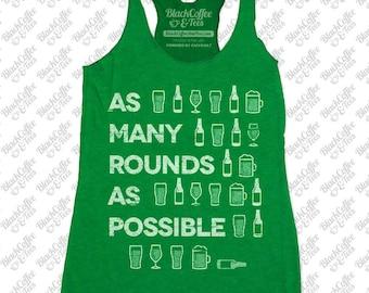 Gym Shirt - Womens St Patrick's Day Shirt. Crossfit Tank Top - Beer Shirt - Womens Craft Beer Shirt - AMRAP Hand Printed on a Womens Tank