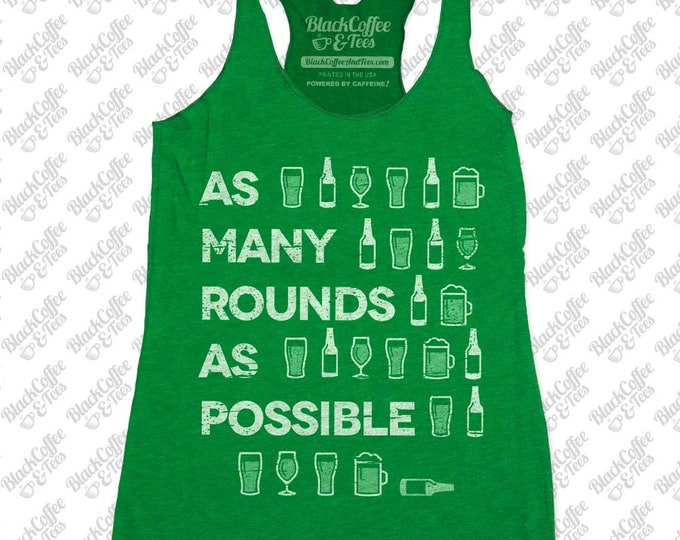 Gym Shirt - Womens St Patrick's Day Shirt. Crossfit Tank Top - Beer Shirt - Womens Craft Beer Shirt - AMRAP Hand Printed on a Womens Tank