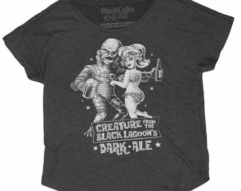 Creature from the Black Lagoon Shirt - Old Horror Film Shirt - Creature From the Black Lagoon Dark Ale Printed on a Womens Dolman