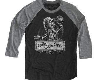 Halloween Beetle juice Shirt - Unisex Beetle Juice T-Shirt - Coffee Drinking - Unisex Baseball Tee