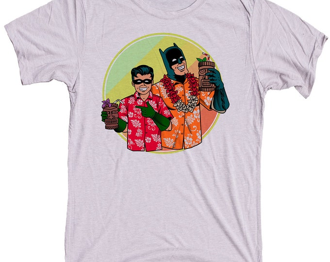 Batman and Robin Tiki Shirt. Mens T-Shirt.