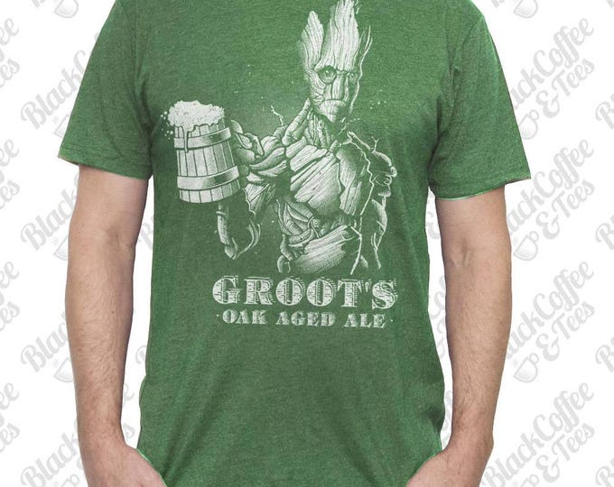 St Patricks Day Shirt - Groot Shirt - Guardians of The Galaxy Mens Shirt - Craft Beer Shirt - Groots Oak Aged Ale on a Mens  Green T Shirt