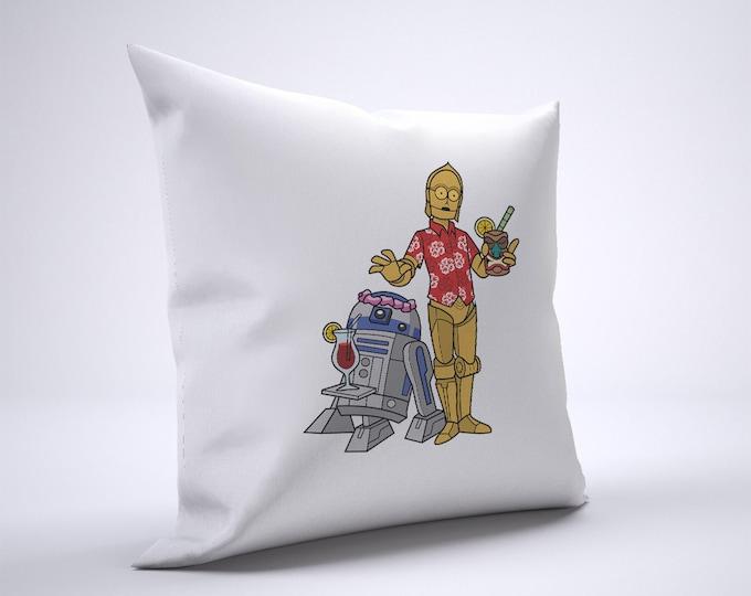 R2D2 C3PO Tiki Pillow Case Size 20in x 20in