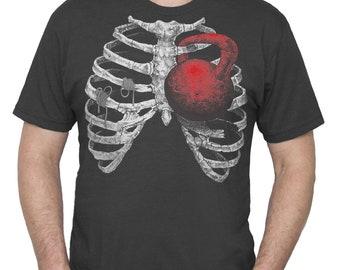 Gym Shirt - Squat Shirt - Kettlebell Shirt - Men's Workout Shirt - Ribcage Kettlebell Workout T-Shirt Hand Screen Printed on a Mens Shirt