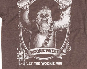 Star Wars Shirt - Chewbacca Shirt - Men's Wookie Shirt - Chewie - Wookie Wheat Hand Screen Printed on a Mens T-Shirt - Craft Beer Shirt