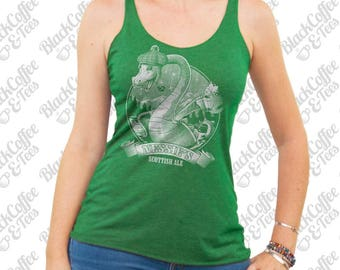 St. Patricks Day Shirt - Loch Ness Monster Shirt - Nessie The Loch Ness Monster Drinking Scottish Ale on a Womens Green Tank Top