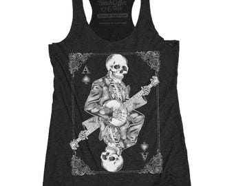 Halloween Banjo Shirt - Women's Banjo Shirt of Skeleton Playing Banjo - Music Shirt - Day of Dead Concert Tank Top