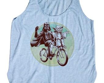 Funny Star Wars Womens Shirt -Darth Vader and Yoda Riding a Bike