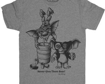 Gremlins Shirt - Mens Gremlins Shirt - Mogwai Men's T-Shirt - Gremlins Drinking Beer Hand Screen Printed on a Mens T-Shirt