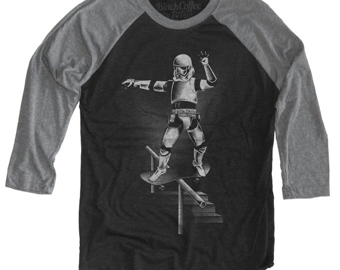 Funny Skateboard Shirt  Vintage Old School Inspired Star Wars Parody Printed on Unisex Baseball Tee
