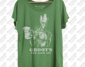 St Patricks Day Shirt - Groot Shirt - Guardians of The Galaxy Groot Shirt - Craft Beer Shirt -Funny Green Shirt- Womens St Pattys Day Dolman