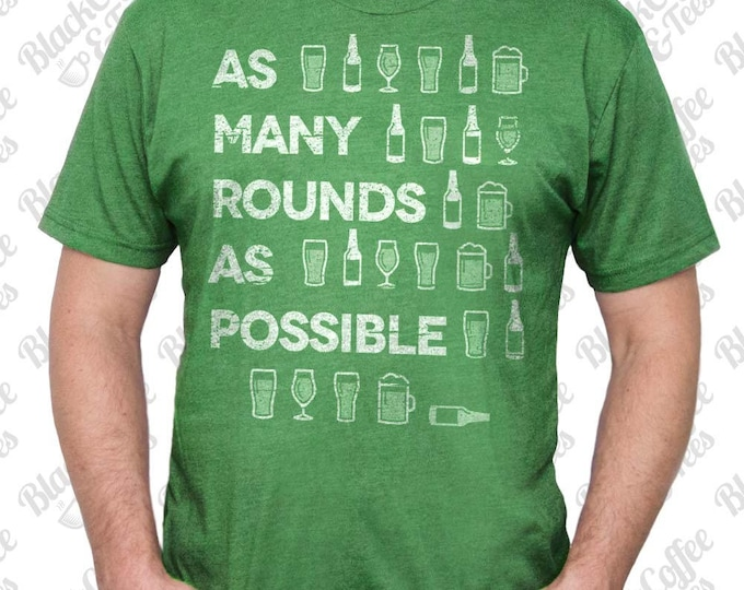 Gym Shirt - Mens St Patrick's Day Shirt. Crossfit Shirt - Beer Shirt - Mens Craft Beer Shirt - AMRAP Hand Printed on a Mens T-Shirt