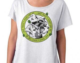 Nightmare Before Christmas Shirt - Oogie Boogie Drinking a Beer Printed on a Womens Dolman