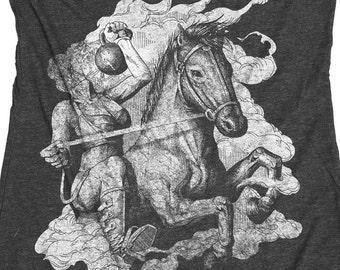 Gym Shirt - Women's Kettlebell Tank - Gym Competition Shirt - Headless Horseman With a Kettle Bell Hand Screen Printed on a Womens Tank Top