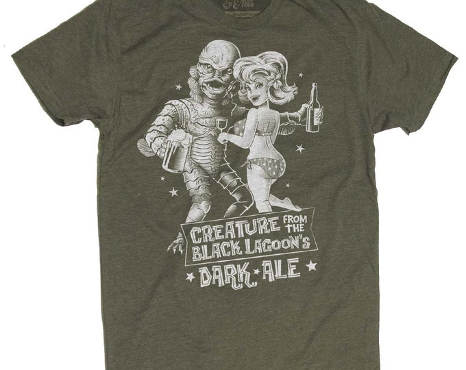 Creature from the Black Lagoon Shirt - Old Horror Film Shirt - Creature From the Black Lagoon Dark Ale Printed on a Mens T Shirt