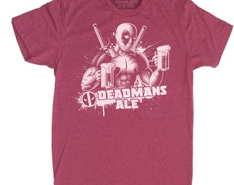 Deadpool Shirt - Mens Deadpool Shirt - Deadpool Beer T Shirt -Deadpools Deadmans Ale Hand Screen Printed on a Mens T-shirt - Mens Beer Shirt