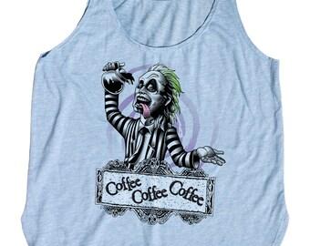 Beetlejuice T-Shirt - Beetlejuice Drinking Coffee - Womens Tank Top-