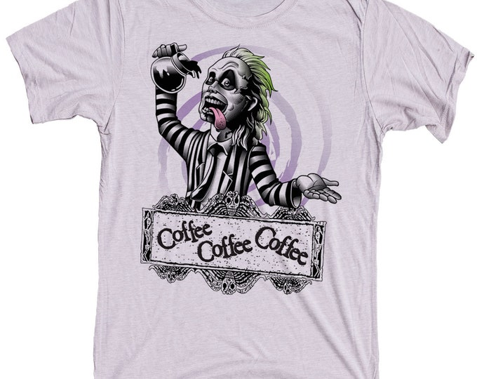Beetlejuice Mens  T-Shirt - Beetle Juice Drinking Coffee