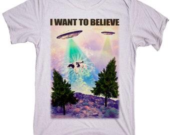 UFO Shirt - Mens Alien  UFO T-Shirt - I Believe Shirt