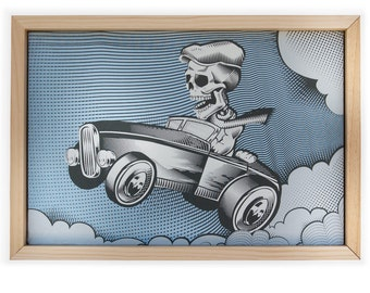 Hot Rod Print - Skeleton Skull Print -  Muscle Car Canvas Screen Print - Skeleton Driving a HotRod Screen Printed on Canvas and Framed