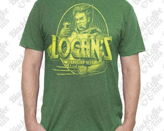 St. Patricks Day Shirt - Wolverine Shirt - Logan from X-Men drinking Canadian Beer Hand Screen Printed on Mens Green T-shirt - St Pattys Day