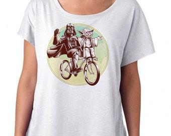 Funny Star Wars Womens Shirt - Yoda and Darth Vader on a Biken Printed on a Womens Dolman