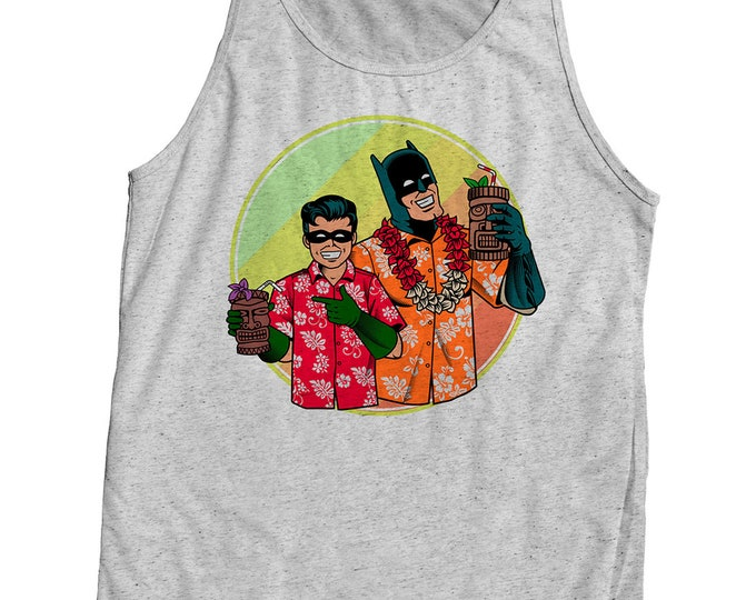 Batman and Robin Tiki themed shirt. Mens Tank Top