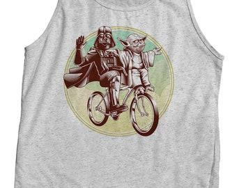 Funny Star Wars Shirt - Yoda & Darth Vader Riding a Bicycle