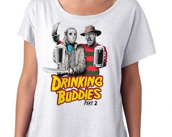 Friday the 13th Halloween Shirt of Freddy & Jason - Horror Film Shirt - Drinking Buddies Printed on a Womens Dolman