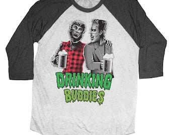 Halloween Wolfman and Frankenstein Drinking Buddies Hand Screen Printed on a Unisex Baseball Tee - Craft Beer Shirt