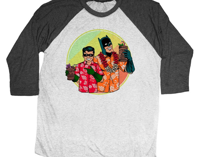 Batman and Robin Tiki Shirt. Unisex Quarter Sleeve Baseball Shirt.