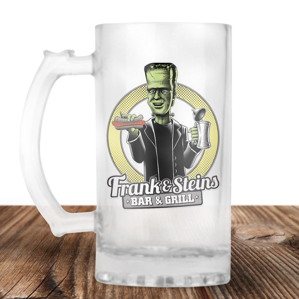frankenstein beer stein - frank and stein bar and grill- cult horror