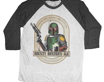 Boba Fett Shirt - Mens Star Wars Shirt -  Boba Fett Bounty Hunter Ale Hand Screen Printed on a Unisex Baseball Tee - Craft Beer Shirt