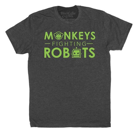Monkeys Fighting Robots Mens Shirt