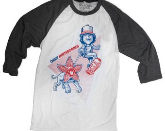 Stranger Things Shirt - Dustin and Dart Shirt - Demogorgon Shirt- Unisex Baseball Tee
