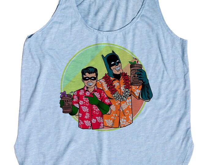 Batman and Robin Tiki themed Tank Top. Womens Tank Top
