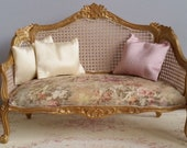 French style sofa - Louis XV - gold painted frame - bespoke vintage French style upholstery - pastoral toile, faux cane, silk pillows