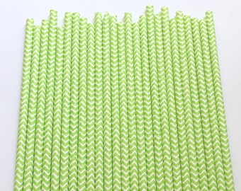 LIME GREEN CHEVRON Paper Straws / Party Straws / Party Decor / Chevron Straws / Paper Party Straws / Birthday Straws / Drinking Straws