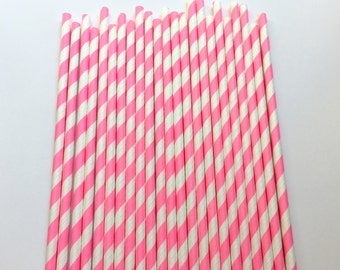 HOT PINK STRIPE Straws / Pink Straws / Striped Straws / Baby Shower / Gender Reveal / Party Straws / Paper Straws / First Birthday Straws