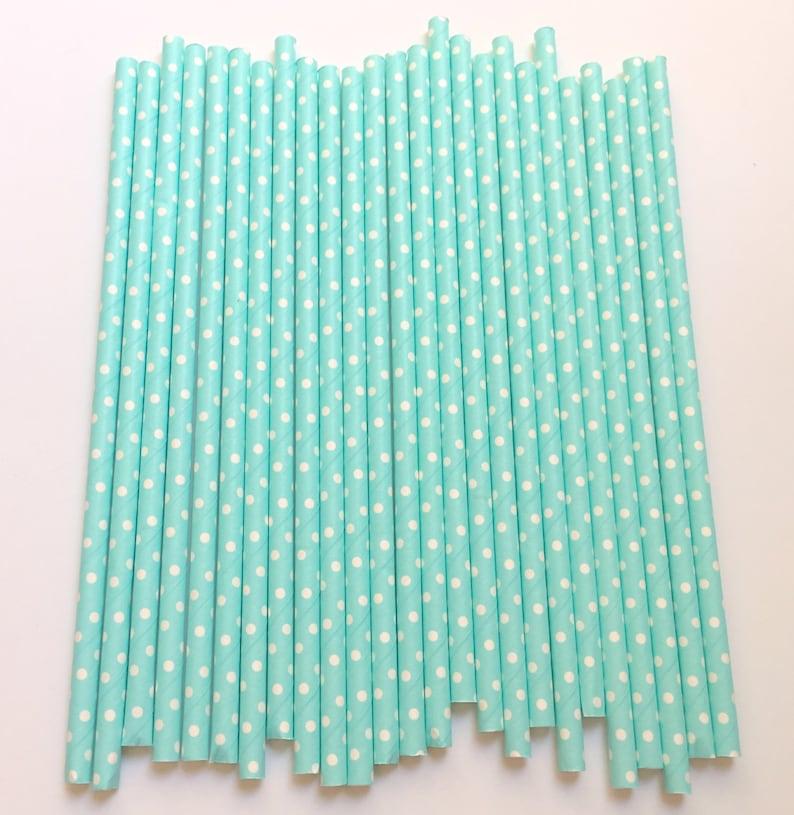LIGHT BLUE POLKA Dot Paper Straws Party