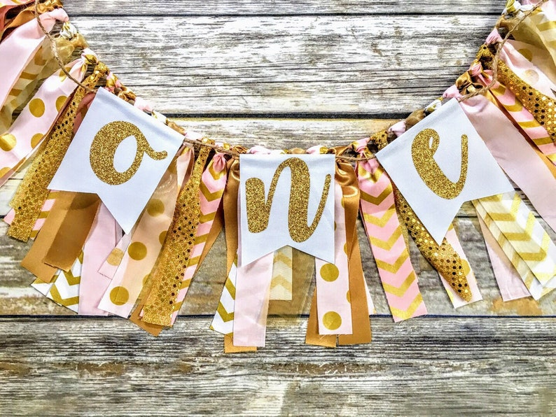 pink gold garland custom name banner personalized baby girl baby shower decor shabby chic bunting party decorations birthday nursery decor