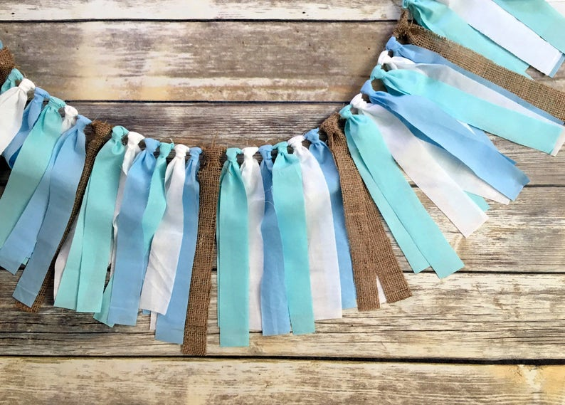 Baby Boy Birthday Party Decorations Shabby Chic Garland Woodland Blue Rustic Banner Shower First 1st