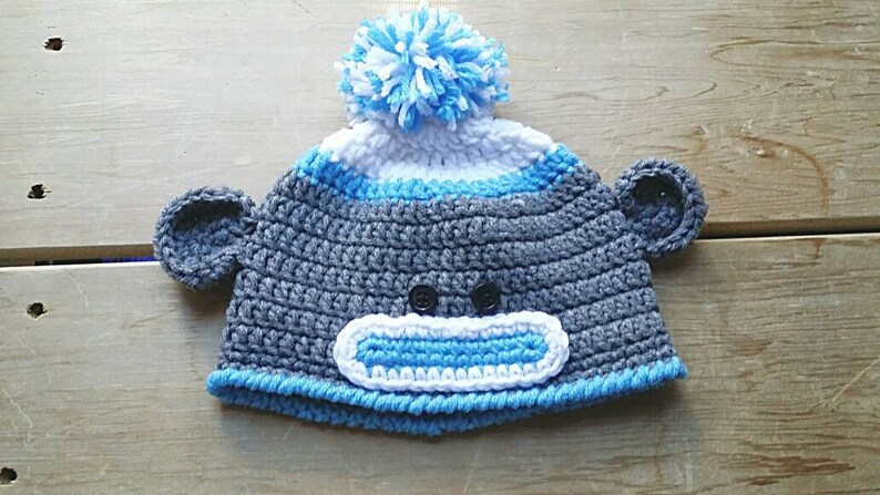 HANDMADE CROCHET KNIT HATS FOR BABIES /& KIDS-SOCK MONKEY-SIZES FROM 0-6 YEARS