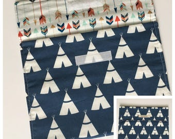 Diaper Clutch - Navy Blue & White Tepees - Diaper Wallet - Diaper Pouch - Diaper Bag Organizer