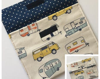 Diaper Clutch - Retro Campers RVs - Yellow - Blue - Orange - Grey - Diaper Wallet - Diaper Pouch - Diaper Bag Organizer